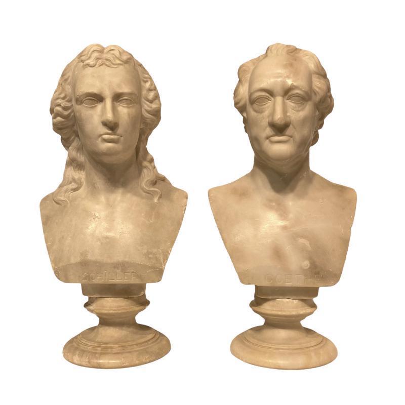 Goethe and Schiller Alabaster Bust Sculptures