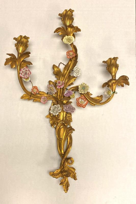Four (4) Louis XV Style Gilt Bronze and Porcelain Floral Sconces