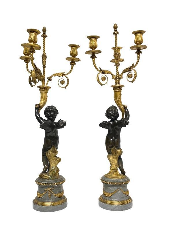 Gilt and Patinated Figural Candelabra with Bleu Turquin Marble Pedestals