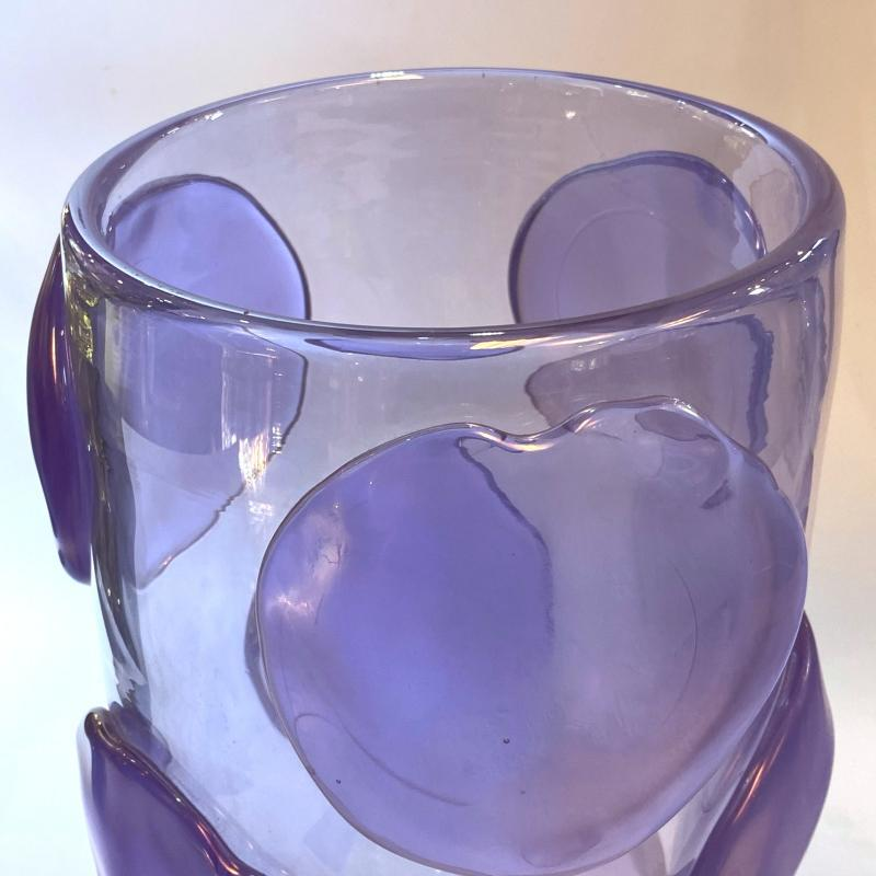 Egidio Costantini Violet Applicazioni a Caldo Bugne Glass Vases