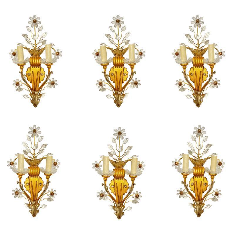 Set Six Banci Florentine Gilt Metal and Glass Sconces