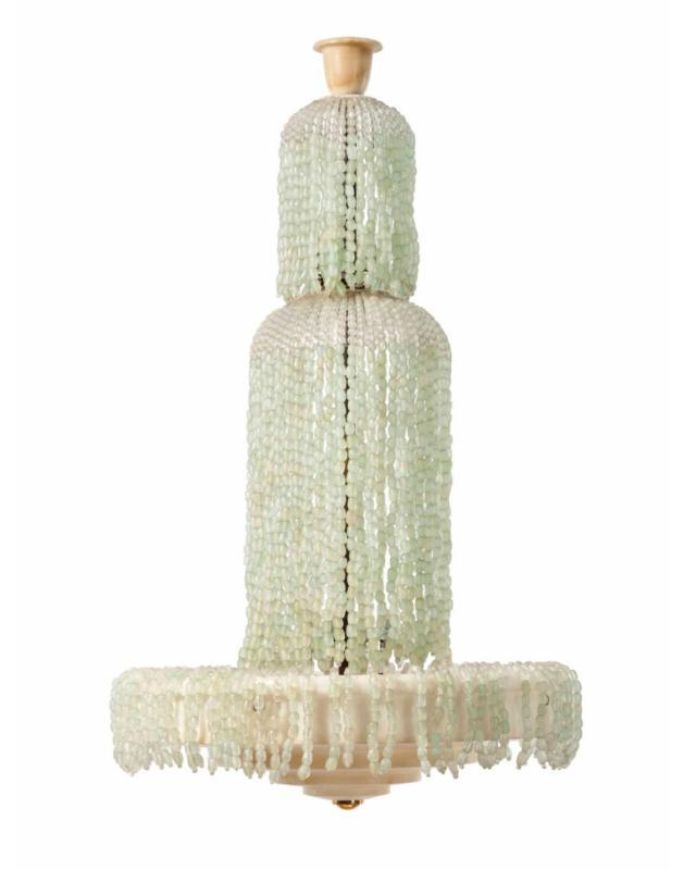 Art Deco Alabaster and Glass Beaded Chandelier After Émile Jacques Ruhlmann
