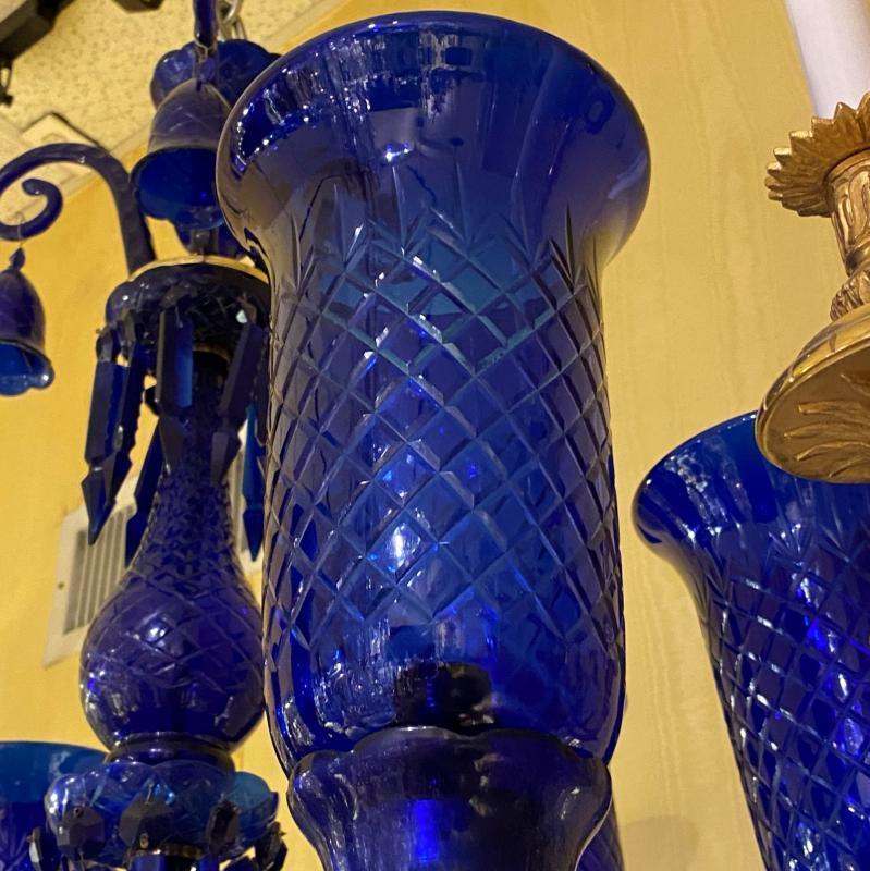 Baccarat Attributed Cobalt Blue Cut Glass Chandelier
