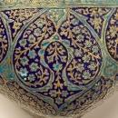 Kashmiri Enameled and Gilt Brass Bowl