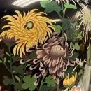 Pair Large Cloisonne Vases Depicting Chrysanthemums (35 in, 89 cm)