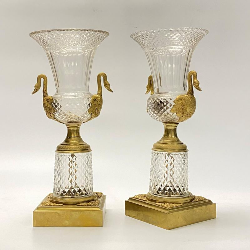 Pair French or Russian Style Gilt Bronze Mounted Cut Glass Vases