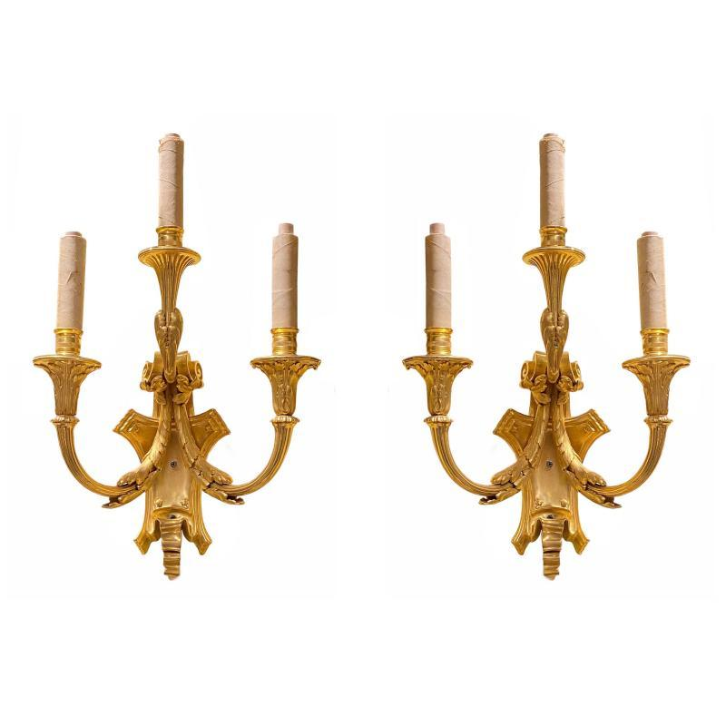 Pair Gilt Bronze Louis XVI Style Three-Light Sconces