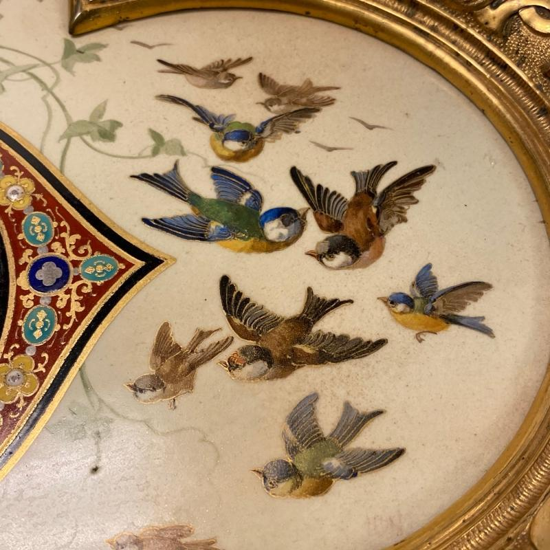 Aesthetic Period Faux Cloisonne Painted Ceramic Charger with Bronze Mounts