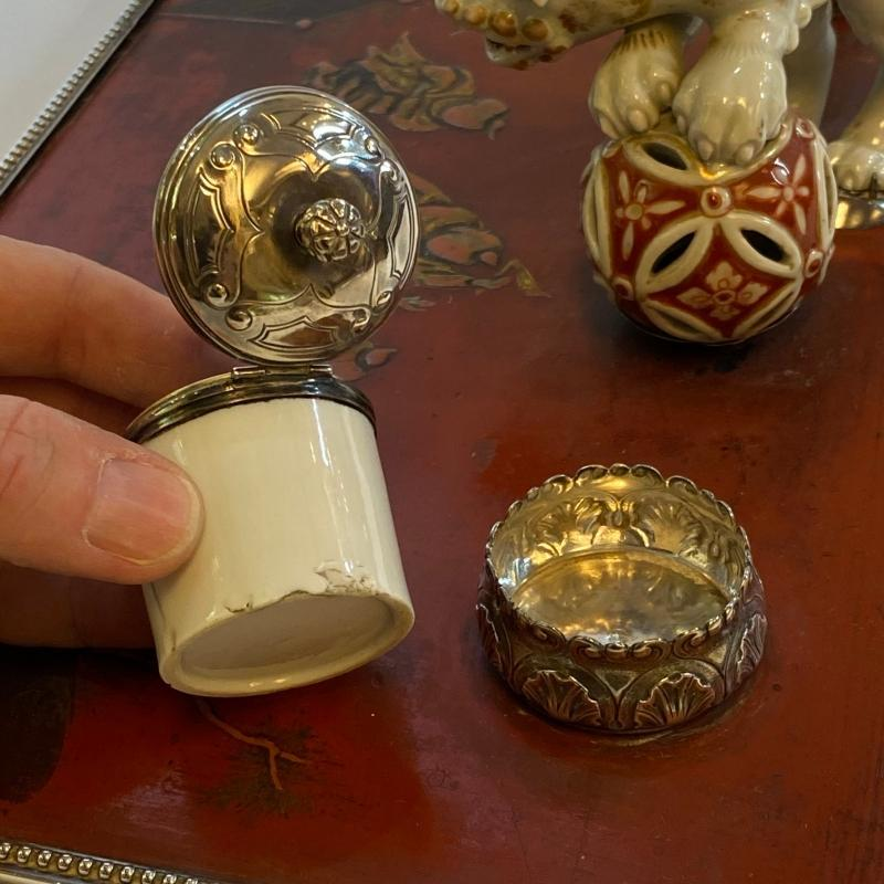 Chinese Lacquer Porcelain and Silver Inkwell