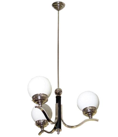 Austrian Art Deco Period Chrome Chandelier