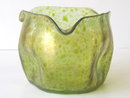 Antique Art Nouveau Bohemian Translucent Oil Spot Glass Vase