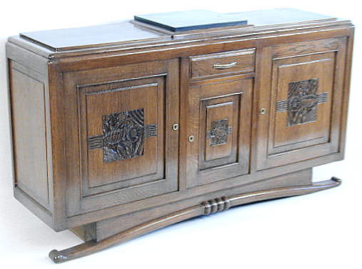 French Art Deco Walnut Sideboard Buffet
