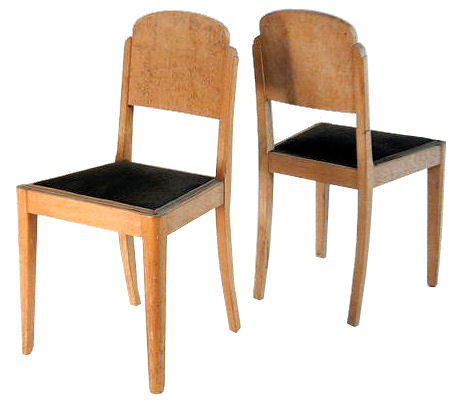 Pair French Art Deco Blond Burl Dining Chairs