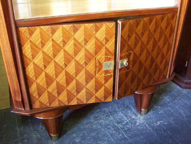 Jules Leleu Style French Art Deco Liquor Bar Cabinet or Vitrine