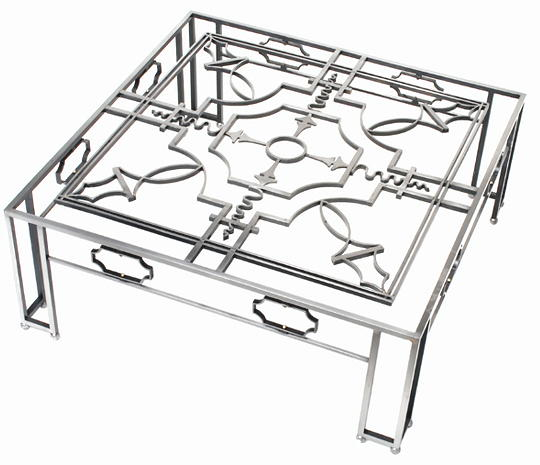 French Art Deco Style Wrought Iron Coffee Table