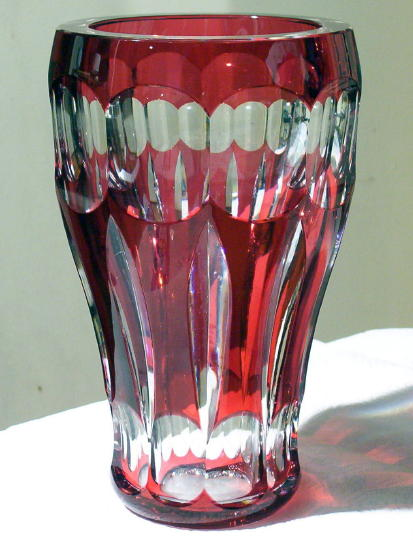 Large Bohemian Ruby Red Cut to Clear Vase