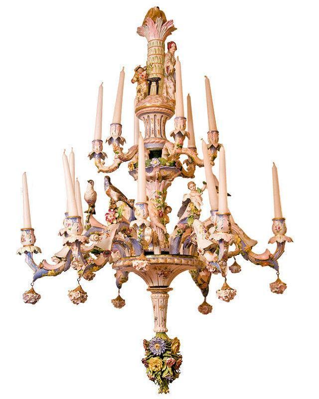 Antique Rococo Revival Figural Berlin Porcelain Chandelier