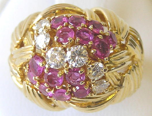 Vintage Diamonds & Rubies 18K Gold Ring