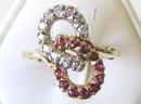 Vintage Rubies & Diamonds 10K Gold Ring