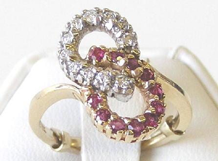 Vintage Rubies & Diamonds 10K Gold Ring
