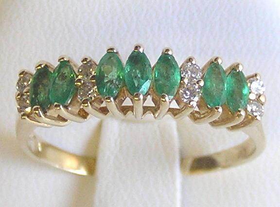 Emeralds & Diamonds 14K Gold Ring