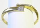 Vintage 18K Gold Bangle w Diamonds
