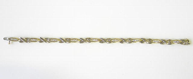 14K Yellow/White Gold Bracelet w Diamonds