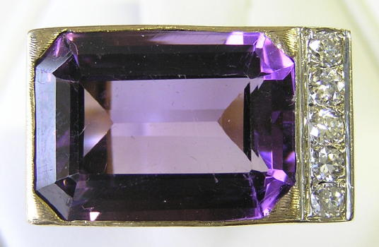 Emerald-Cut Amethyst & 14K Gold Ring