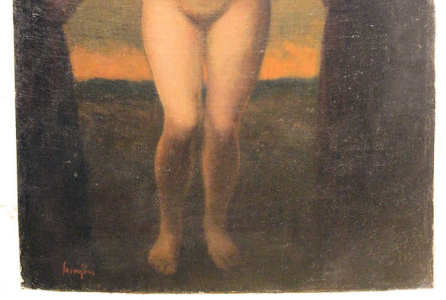 Ferenc Semjen (Hungarian 1885-1948) Nude Female Oil on Board