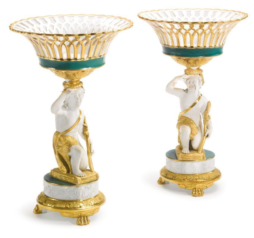 Pair Paris French Charles X Gilt Biscuit Porcelain Figural Baskets Tazzas