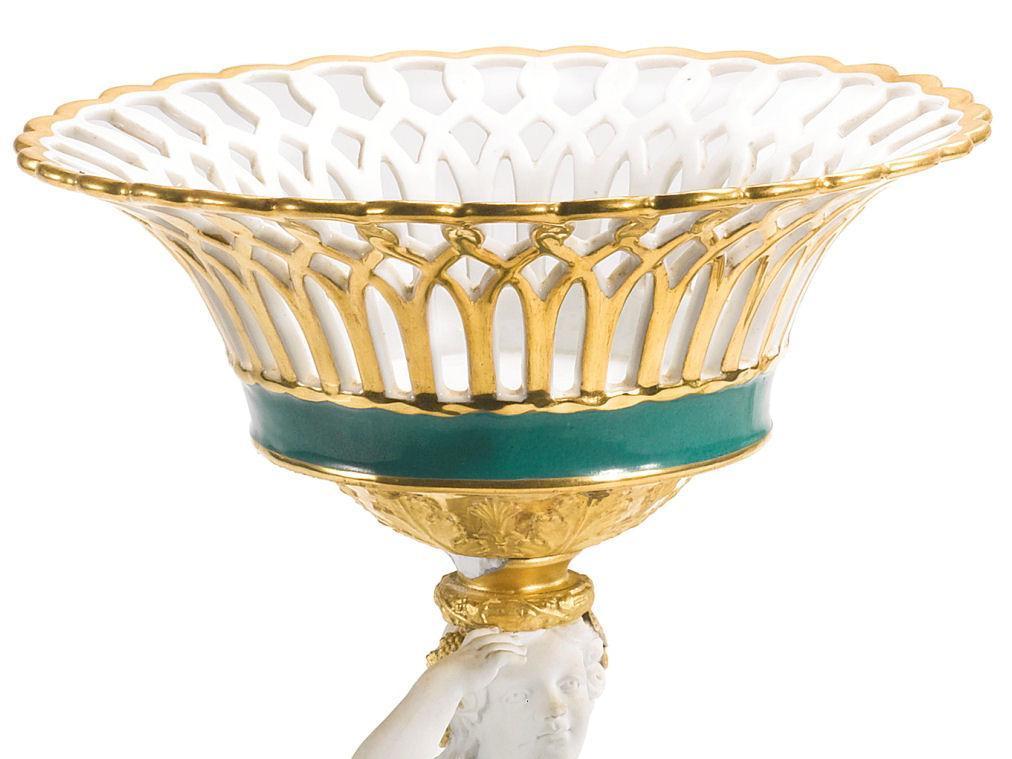 Pair Paris French Charles X Gilt Biscuit Porcelain Figural Baskets Tazzas