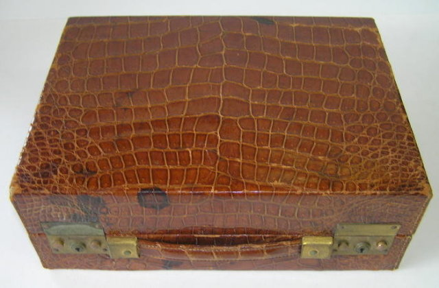 Art Deco Period Vanity Travel Case in Crocodile Leather by Asprey