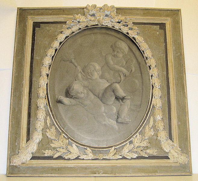 Antique Summer Allegorical Oil Painting with Cherubs or Putti En Grisaille