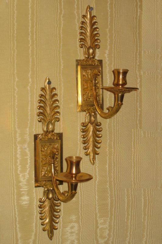 Pair Gilt Bronze Neoclassical French Empire Style Wall Sconces