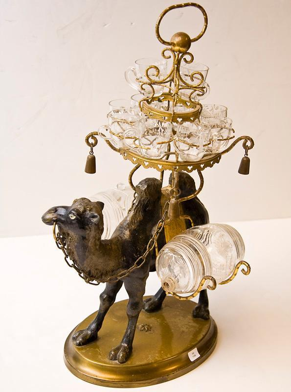 Antique Orientalist Camel Tantalus Decanter Cordial Set