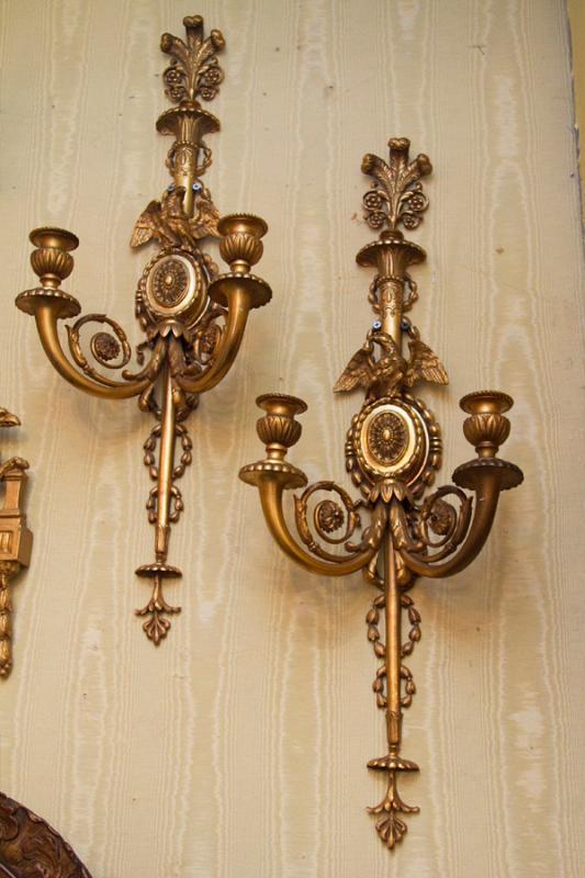 Pair English Regency Style Gilt Bronze Sconces