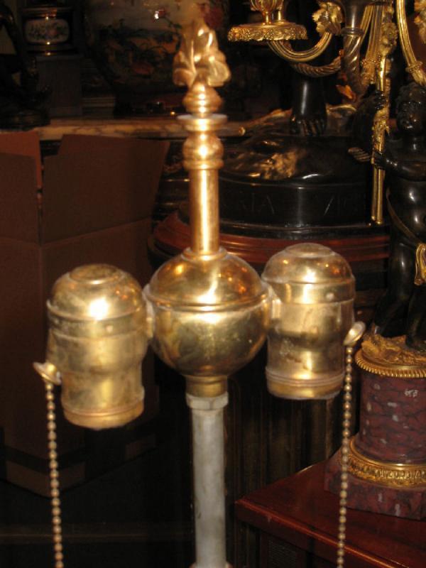 Pair Antique Gilt Metal & Marble Renaissance Revival E.F. Caldwell Table Lamps
