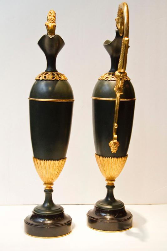 Pair Antique French Empire Patinated & Gilt Bronze Ewers Urns in Manner of Andre-Antoine Ravrio