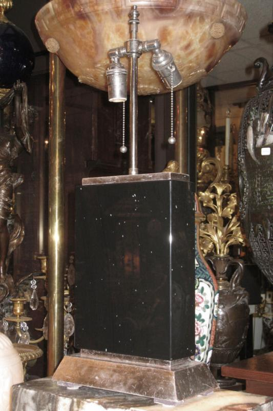 Pair Modern Black Obsidian Stone & Silver Gilt Table Lamps