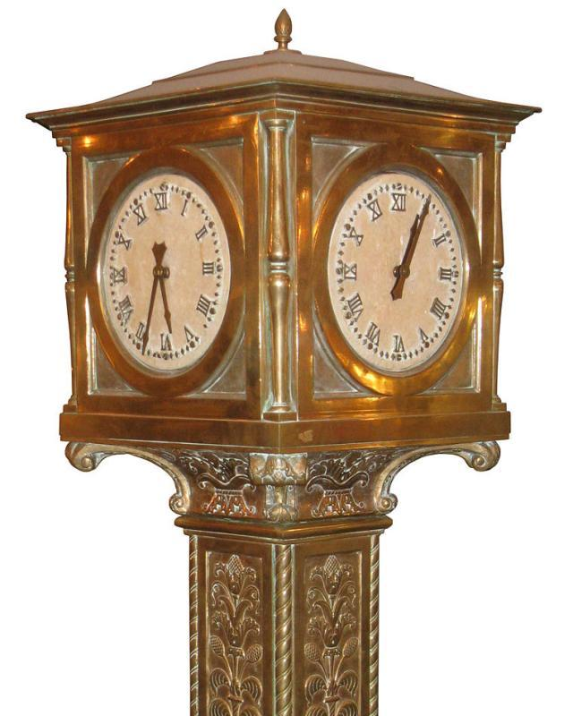 Bronze Four-Sided Train Station Clock from Warren Telechron Circa 1930s
