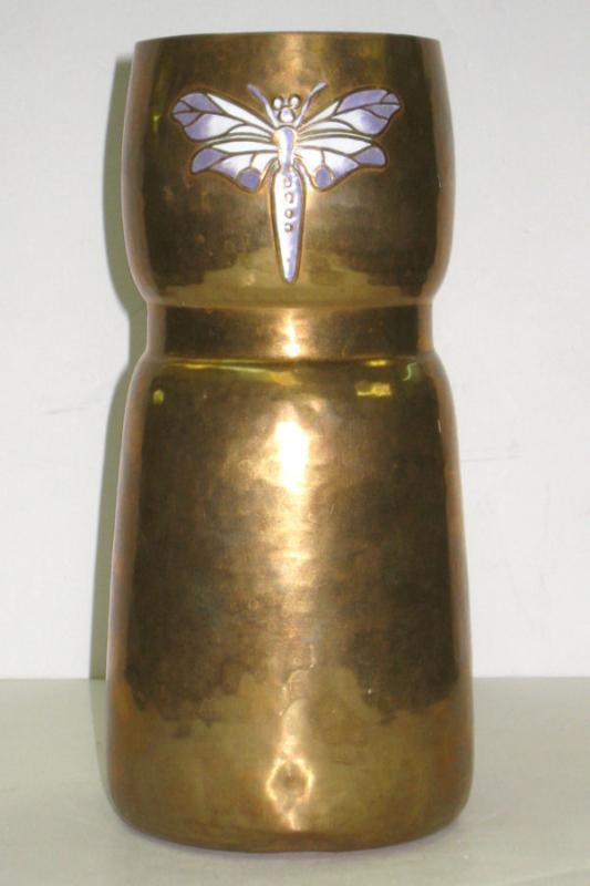 WMF Arts and Crafts Copper Vase with Enamel Dragonfly from 1911