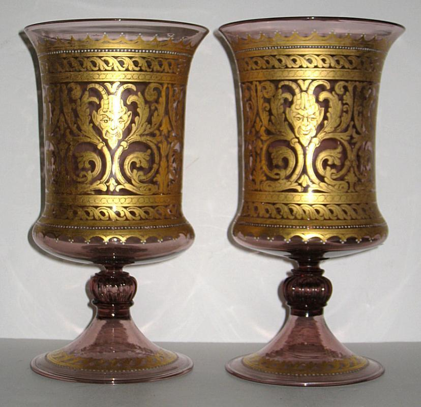 Pair Antique Venetian Neoclassical Parcel Gilt Glass Vases Goblets