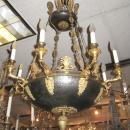 Antique Electrified French Empire Style Bronze Chandelier