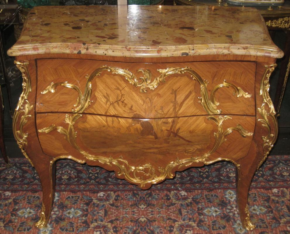 Antique Chinoiserie Marquetry Inlaid Bronze Mounted French Rococo Louis XV Style Commode