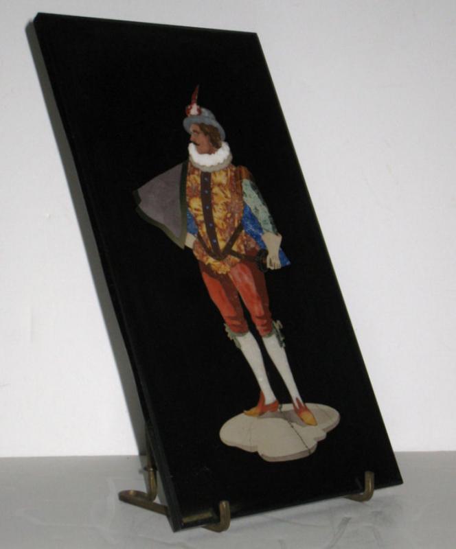 Antique Italian Pietra Dura Mosaic Renaissance Cavalier Portrait Plaque