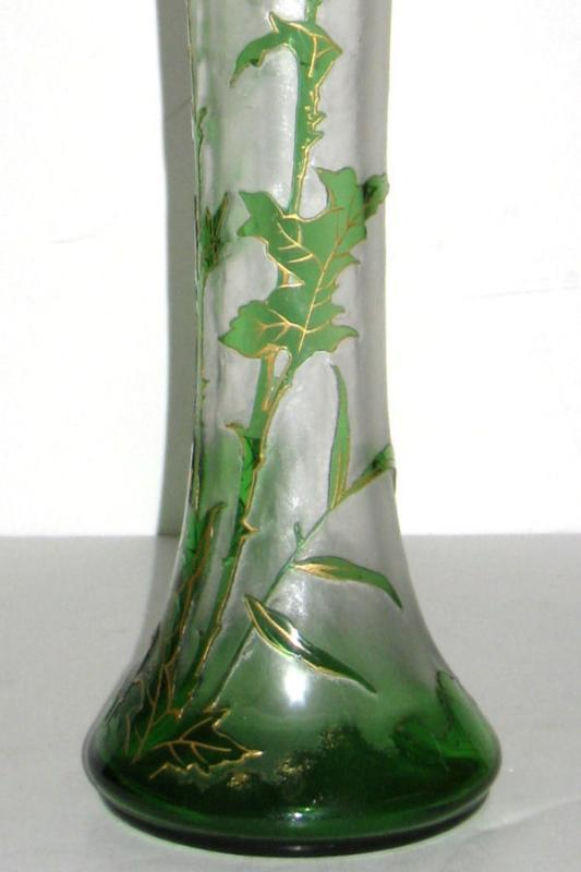Mont Joye Antique French Cameo Glass Vase with Thistle Motif