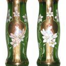 Pair Antique Art Nouveau Gilt & Enameled Glass Vases