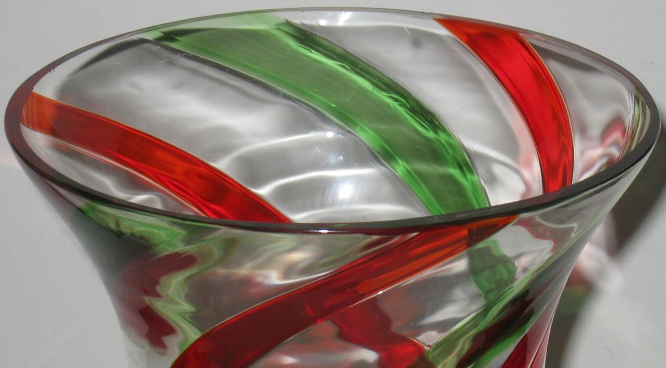 Venini Mid-Century Red & Green Glass Hurricane