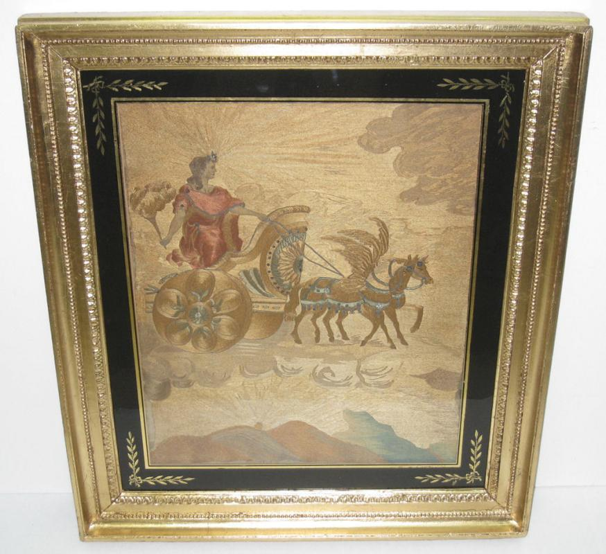 English Regency Period Embroidery Needlepoint Silk Picture of Goddess Aurora