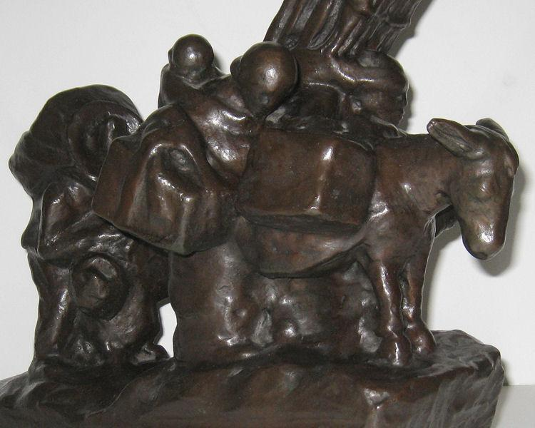 American Frederic Victor Guinzburg Social Expressionist Bronze Sculpture of Latin American Peasants
